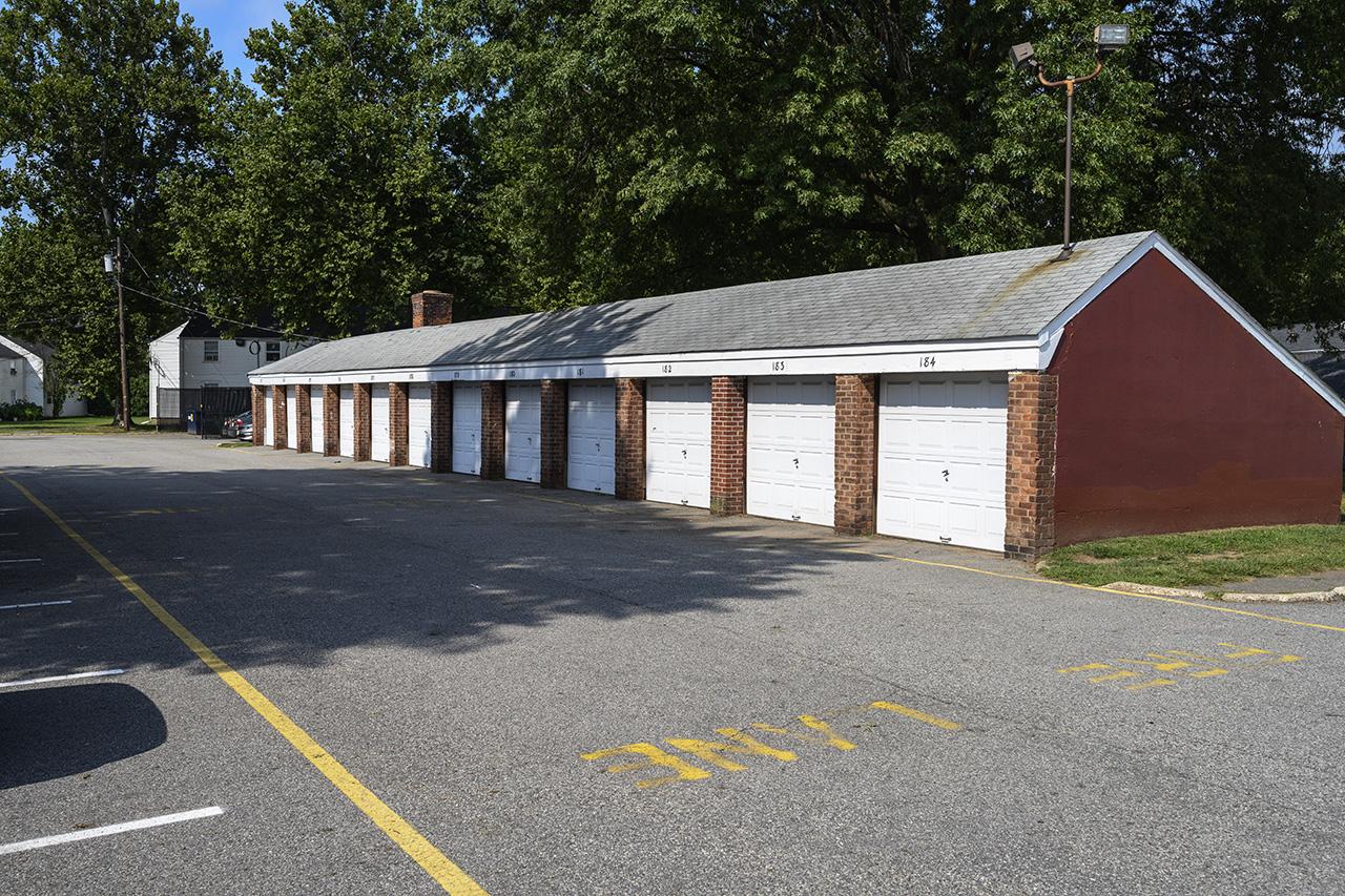 Garage exterior at New Milford Estates