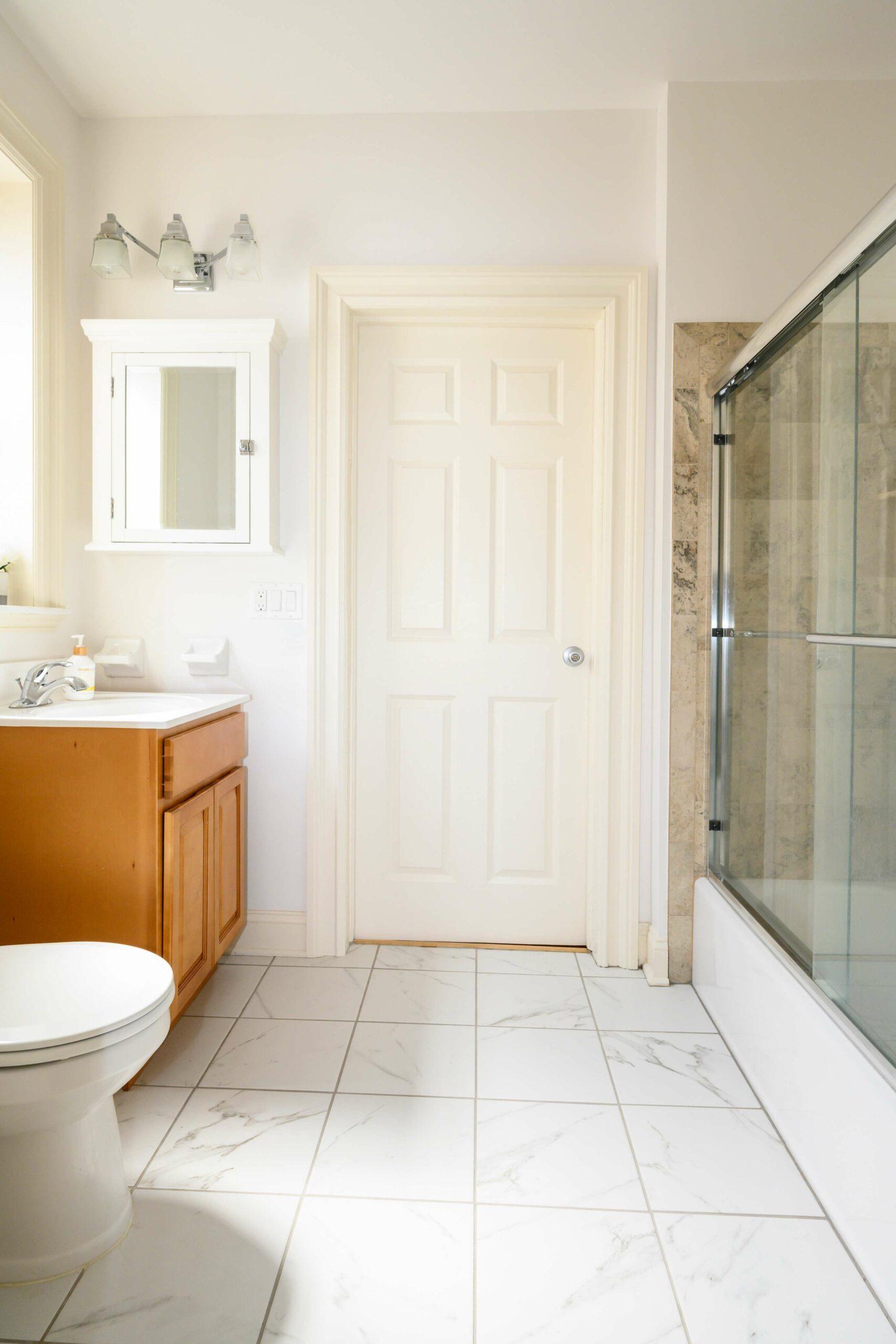 Village House restroom with shower